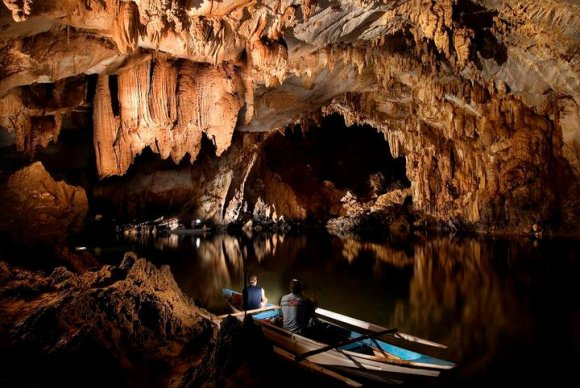 inside the underground river.