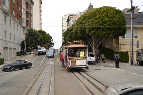 Riding a cable car
